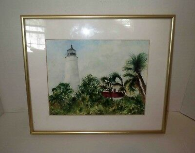 Signed Miniature TROPICAL ISLAND LIGHTHOUSE PAINTING - EXCEPTIONAL WORK