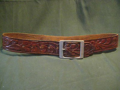 "vtg 60s 70s WESTERN BELT 24"" to 28"" hand tooled brown leather silvertone buckle"