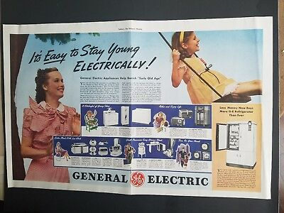 1939 GE General Electric Refrigerator Appliance selection girl swing ad