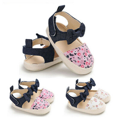 Baby Infant Girl Bowknot Soft Sole Crib Sneakers Slip On Toddler Newborn Shoes