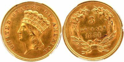 1854 Princess $3 Gold, First Year Issue, Frosty Choice Original, PGCS MS63