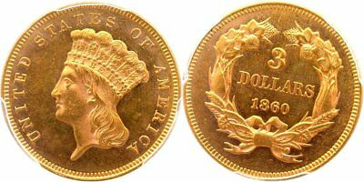 1860 Princess $3 Gold, Low Mintage, Proof Like Field, Choice Original, PGCS MS63