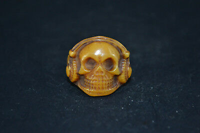 Collectible Chinese Tibet Buddhism Totem skull  0x Bone Carve Ring old antique