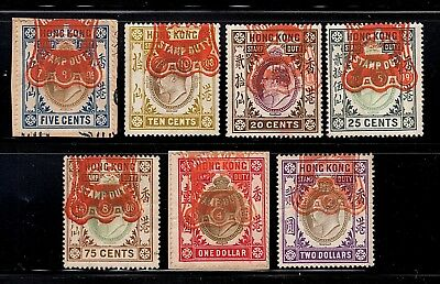 Hong Kong Group Of 7 Fiscally Cancelled Revenue Stamps, Edward Vii Era, 1902-08