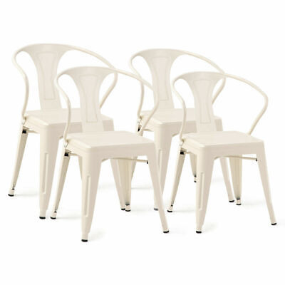 Set of 4 Tolix Style Metal Chairs Arm Chair Kitchen Dining Side Chair Stackable