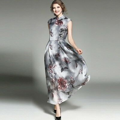 Womens Vintage Cheongsam Chinese Ink Painting Dress QiPao Evening Long Dress