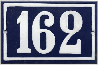 Old blue French house number 162 door gate plate plaque enamel steel metal sign