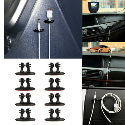 8Pcs Car Headphone USB Cables Clips Charger Line Holder Organizer Accessories