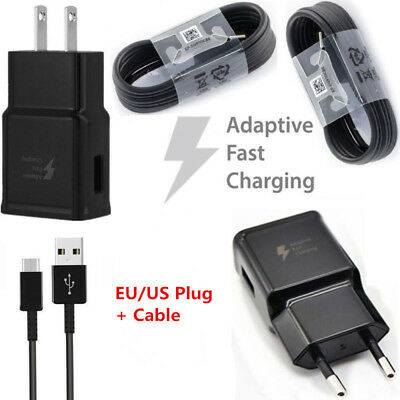 Black Adaptive Fast Wall Charger 5V/9V For Samsung Galaxy S8 S9 Plus Note 8 A8