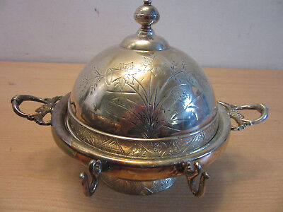 Antique Victorian Hartford Quadruple Silver Plate Co handled dome butter dish