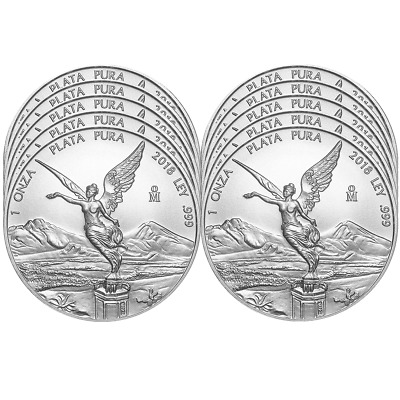 Lot of 10 - 2018 Silver Mexican Libertad Onza 1 oz Brilliant Uncirculated
