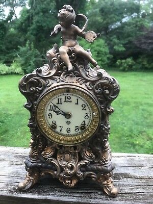 Antique Ansonia Mantel Clock With Victorian Putti Overmount