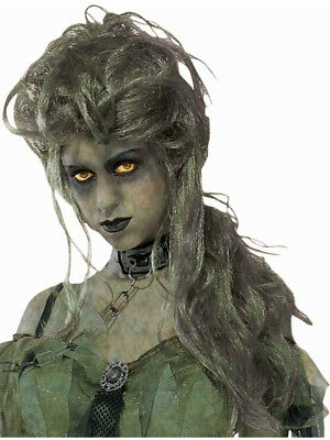 Long Green Zombie Costume Undead Lady Costume Wig