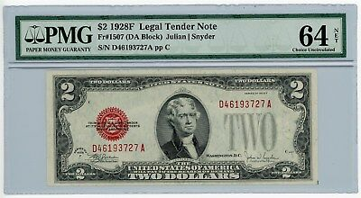 Fr. 1507 $2 1928F Legal Tender Two Dollar U.S. Note #D46193727A 64 NET PMG