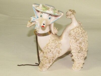 """Antique Porcelain Spaghetti Dog Girl French Poodle Figurine 5""""t, w/Hat & Chains"""