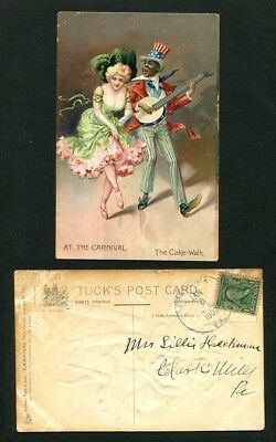 1909 Antique Postcard At the Carnival The Cake Walk African American