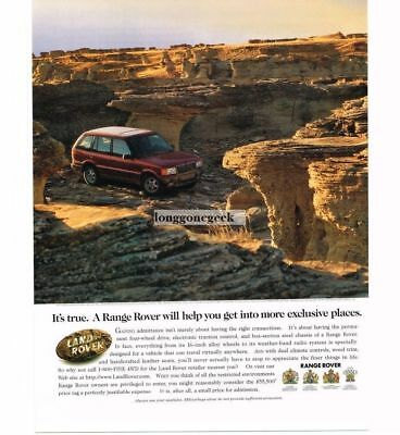 1997 Land Rover Range Rover driving in canyon arroyo gully VTG PRINT AD
