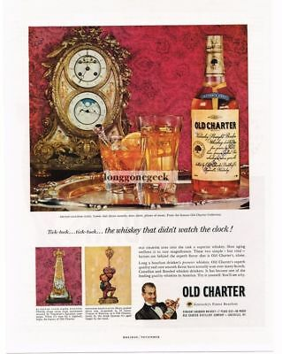 1959 OLD CHARTER Bourbon Whiskey French Calendar Clocks Vtg Print Ad