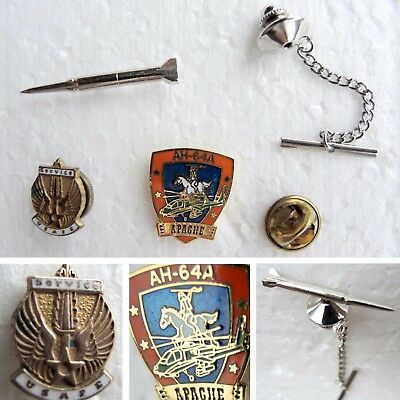 SERVICE USAFE Pin Eagle -AH-64A Apache -Silver Rocket Artillery Pershing Missile