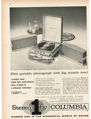 1959 COLUMBIA Stereo 1 Portable Phonograph 6-Speaker Model C-1014 VTG PRINT AD