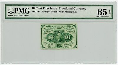 Fr. 1242 10c 1st Issue Fractional Currency #929131-3 65 EPQ PMG With Monogram