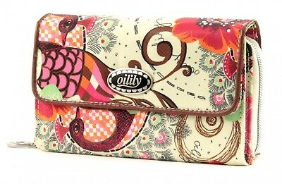 Oilily Tropical Birds Big Wallet Geldbörse Off White Weiß Beige Neu