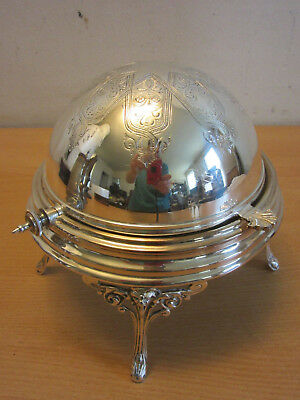 Antique victorian silver plate English footed hinged dome lid butter dish W.A.