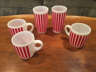 "5 Piece Lot Of Vintage ""anchor Hocking"" Red Striped Milk Glass. - Nice!!!"