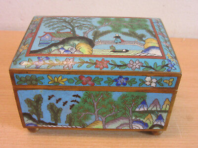 Antique Chinese cloisonne enameled high quality hinged lid trinket jewelry box