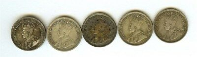 Canada 1918 Silver 10 Cents 5 Coin Lot  Extra Fine