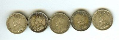 Canada 1919 Silver 10 Cents 5 Coin Lot  Extra Fine