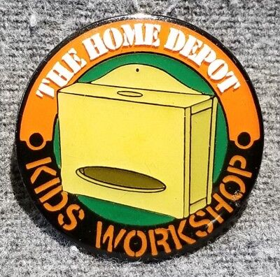 LMH PINBACK Pin HOME DEPOT Kids Workshop PLASTIC BAG Dispenser Storage Box 1""