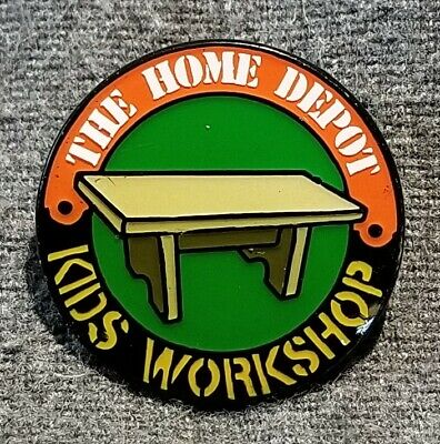 LMH PINBACK Pin HOME DEPOT Kids Workshop SMALL TABLE Bench Stool 1""