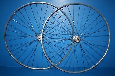 Paire Roues 1940 1950 Moyeu Campagnolo Prior Jante Ruban Jaune Hubs Race Wheel