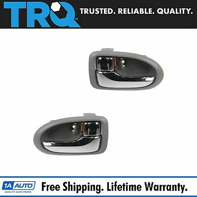 Front Chrome & Gray Interior Inside Door Handle Pair Set for 00-06 Mazda MPV