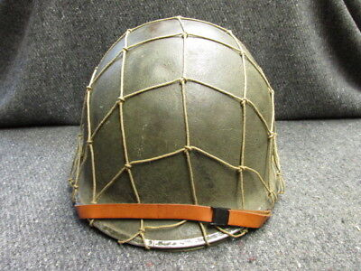 Wwii Us M1 Helmet W/ Liner, Chinstraps, & Camo Net-Front Seam Fixed Bales