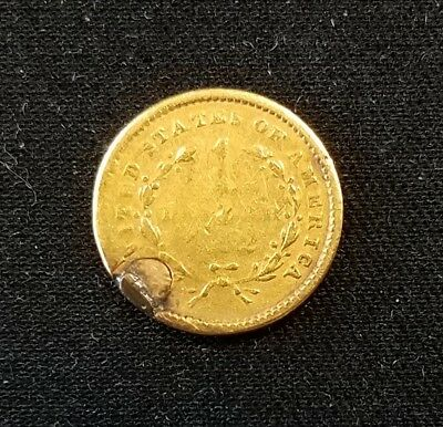 1852? $1.00 Liberty Head gold piece! Holed and filled. NO RESERVE!