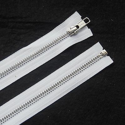 Ykk Best Quality White Metal Open End Zip- Silver Teeth- Choose Your Size***