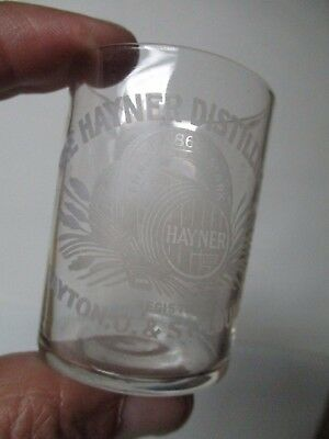 Vintage Etched Shot Glass - Hayner Distilling Co- Dayton OH & St Louis MO
