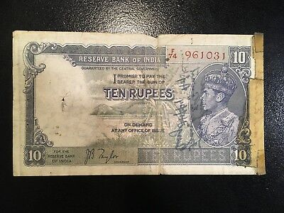 INDIA  10 Rupees 1937  -- Military Short Snorter