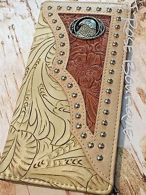 BROWN AMERICAN EAGLE COWBOY CONCHO TOOLED LEATHER Men Bifold Long Wallet Western