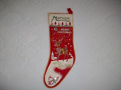 VINTAGE FELT OR FLANNEL CHRISTMAS STOCKING - 1940's - 50's - MOTHER