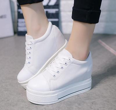aa57563088a2 Fashion Womens Lace Up Hidden Wedge Heel Platform Trainer Tennis Shoes