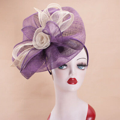 Womens Fascinator Sinamay Cocktail Headband Hat Royal Wedding Racing Church X162