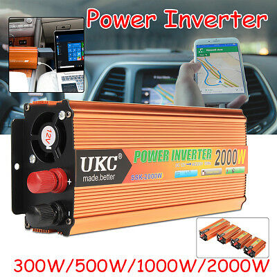 2000W (4000W) Max Power Inverter Sine Wave Converter Adapter DC 12V to AC 220V