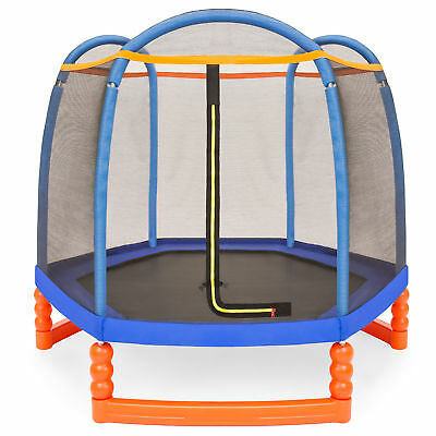 BCP 7ft Kids Indoor/Outdoor Mini Trampoline w/ Safety Net, Padding