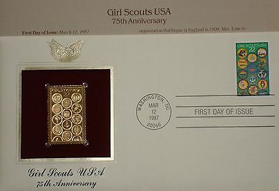 22K Gold 1987 Girl Scouts USA 1st Day Cov 75th Anniversary NO ADDRS ProofReplica