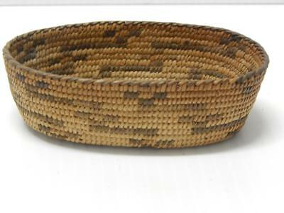 SUPER FINE WEAVE VINTAGE ANTIQUE PIMA INDIAN BASKET c.1900-20 - OVAL FORM