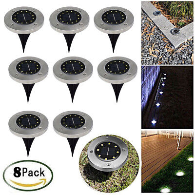 8Packs 8 LED Solar Power Buried Light Under Ground Lamp Outdoor Way Garden Deck