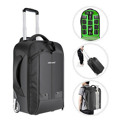 Neewer 2-in-1 Padded Convertible Wheeled Camera Backpack Luggage Trolley Case